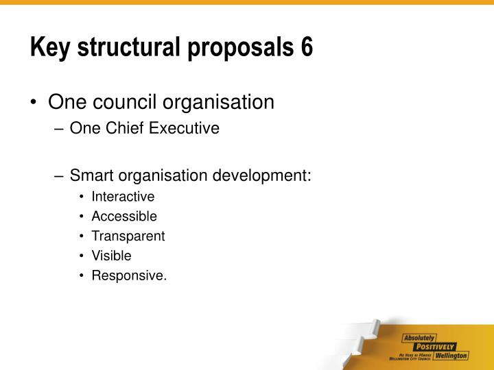 Key structural proposals 6