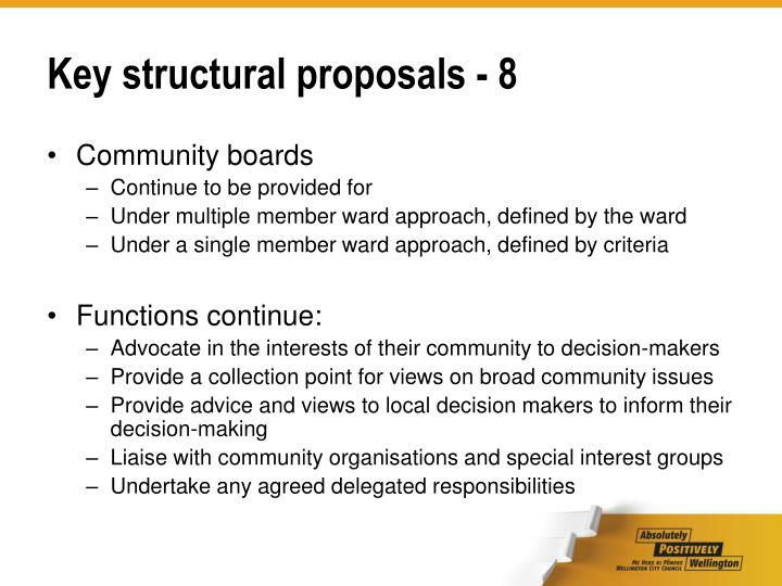 Key structural proposals - 8