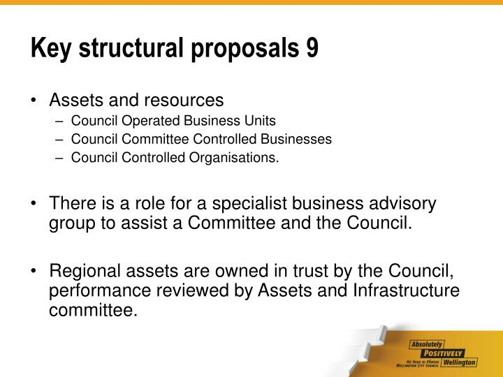 Key structural proposals 9