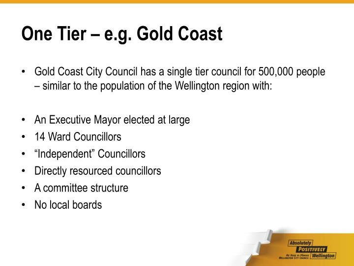 One Tier – e.g. Gold Coast