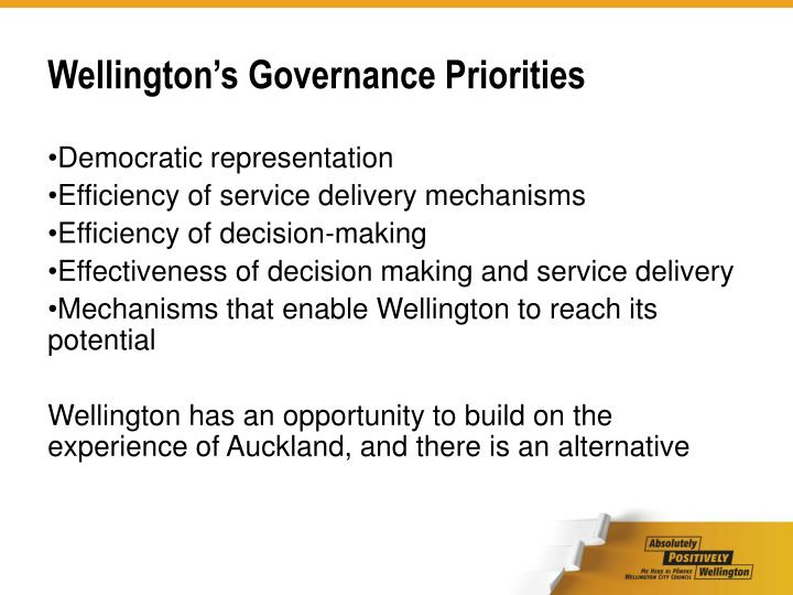 Wellington's Governance Priorities