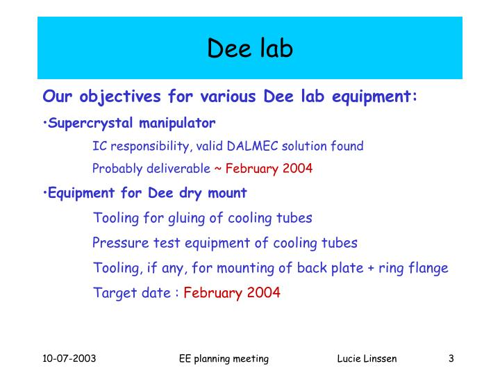 Dee lab