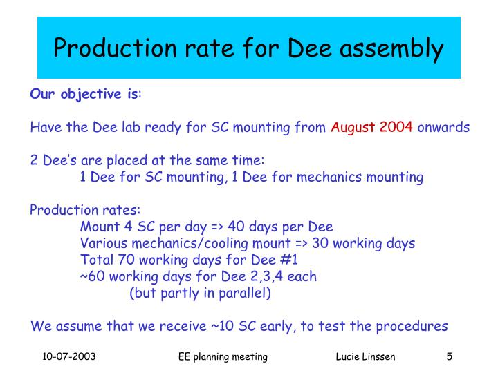 Production rate for Dee assembly