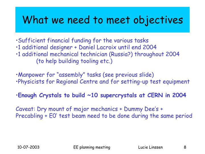 What we need to meet objectives