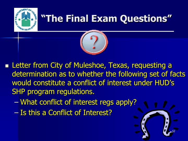"""The Final Exam Questions"""