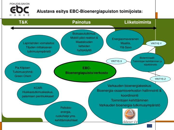 Alustava esitys EBC-Bioenergiapuiston toimijoista