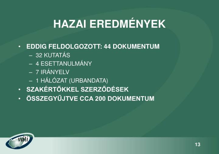 HAZAI EREDMÉNYEK