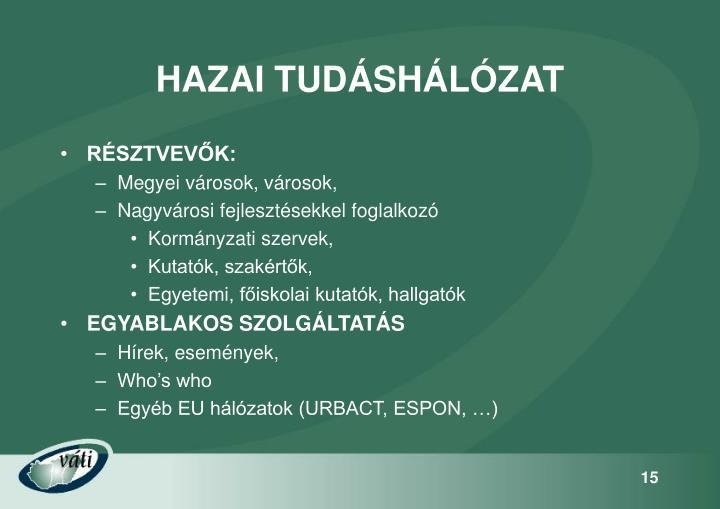 HAZAI TUDÁSHÁLÓZAT