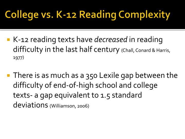 College vs. K-12 Reading Complexity