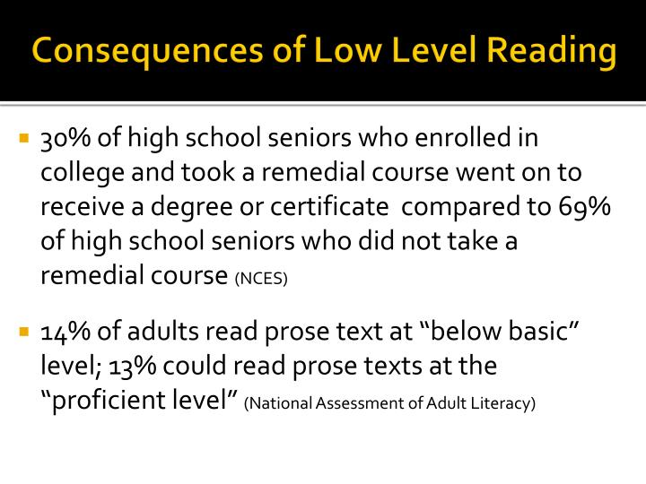 Consequences of Low Level Reading