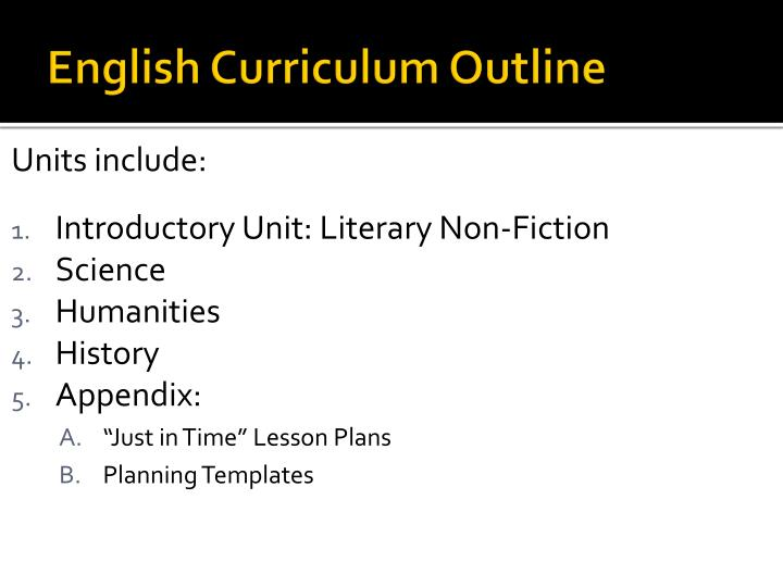 English Curriculum Outline