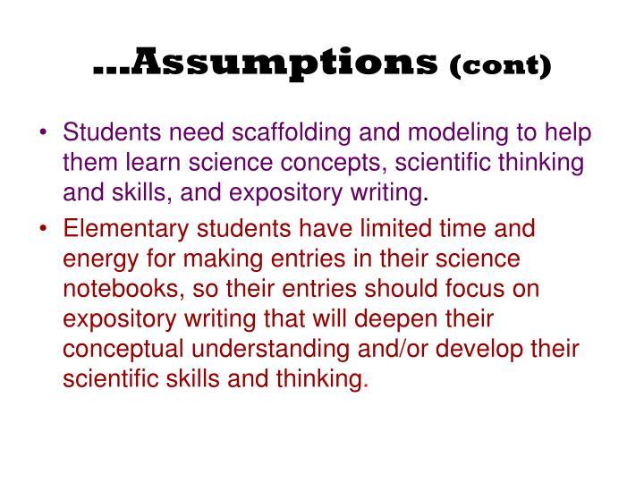 …Assumptions