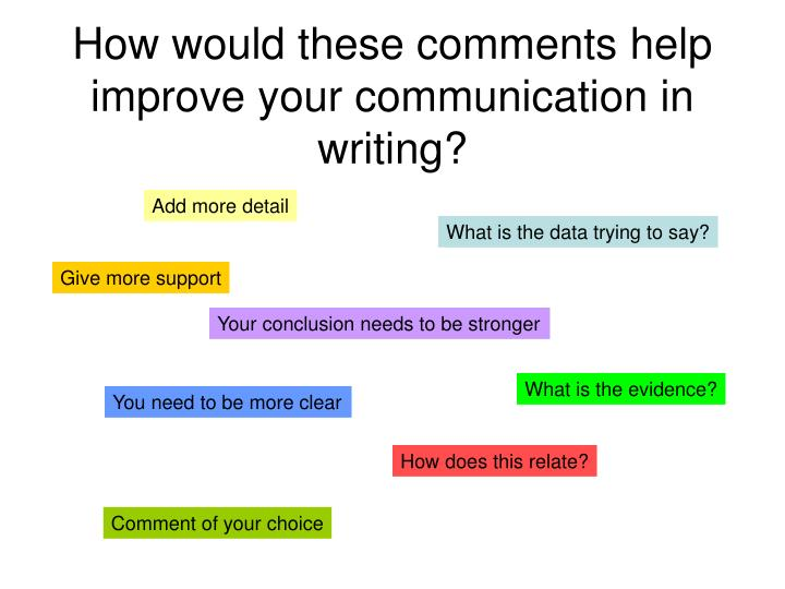 How would these comments help improve your communication in writing?