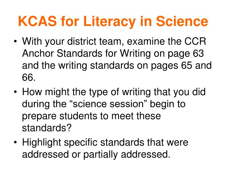 KCAS for Literacy in Science
