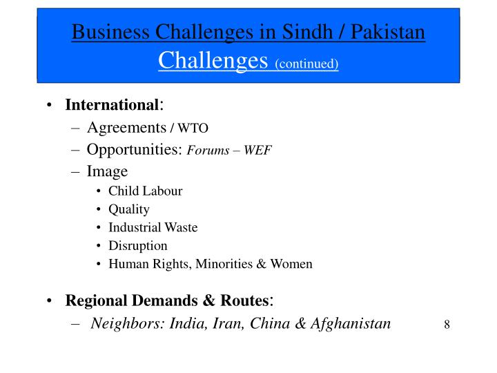 Business Challenges in Sindh / Pakistan