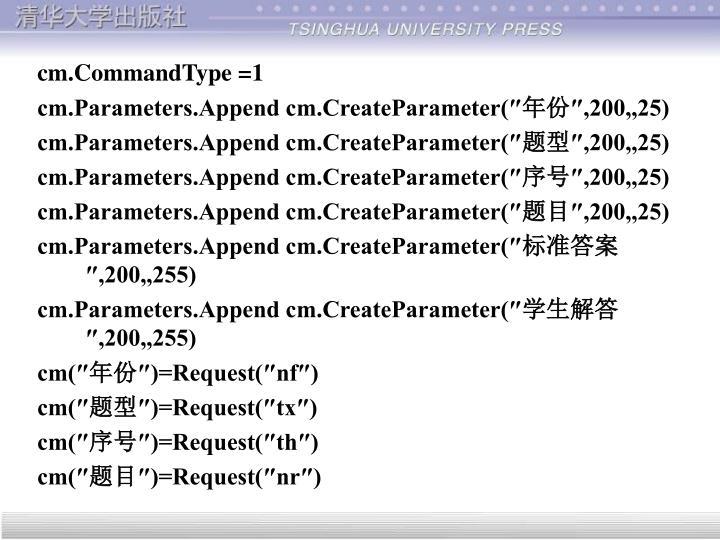 cm.CommandType =1