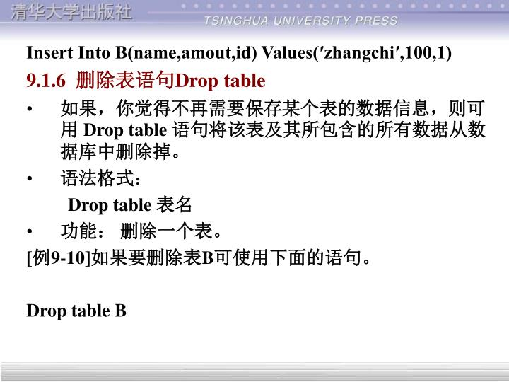 Insert Into B(name,amout,id) Values(zhangchi,100,1)