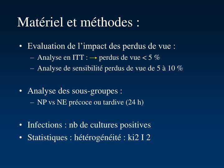 Matériel et méthodes :
