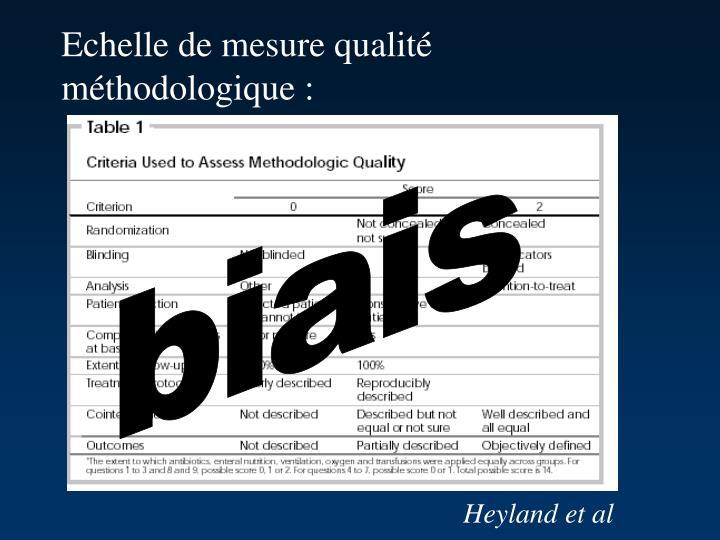 Echelle de mesure qualité méthodologique :