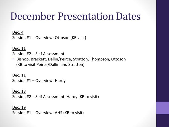 December Presentation Dates