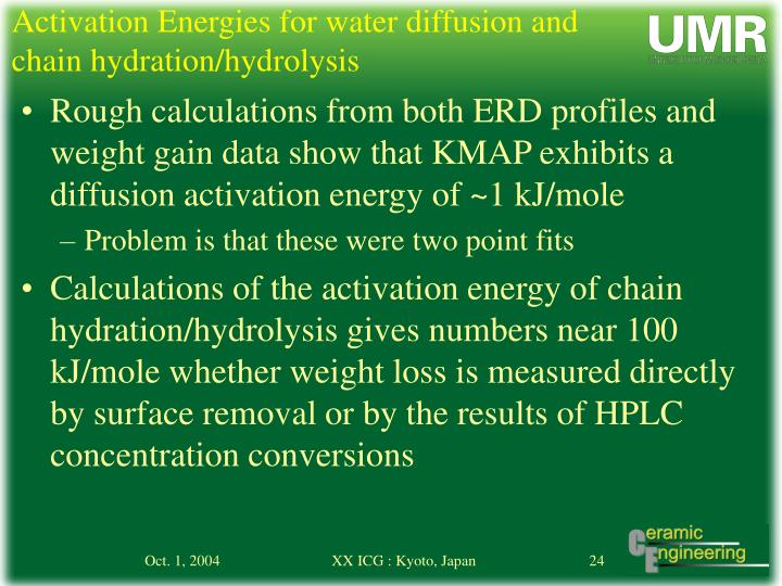 Activation Energies for water diffusion and chain hydration/hydrolysis
