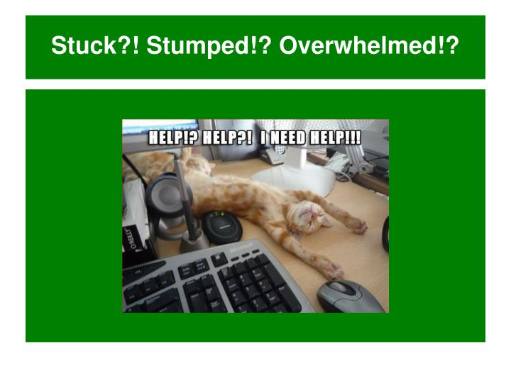 Stuck?! Stumped!? Overwhelmed!?