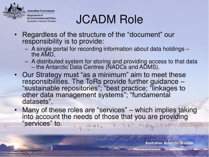 JCADM Role