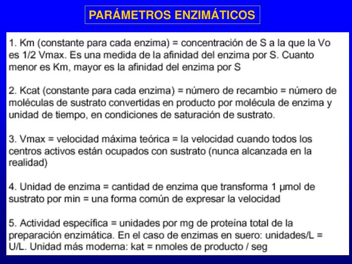 PARÁMETROS ENZIMÁTICOS