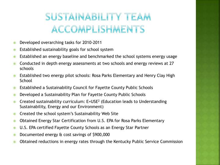 Sustainability Team Accomplishments