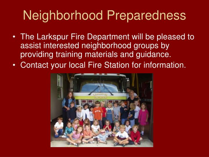 Neighborhood Preparedness