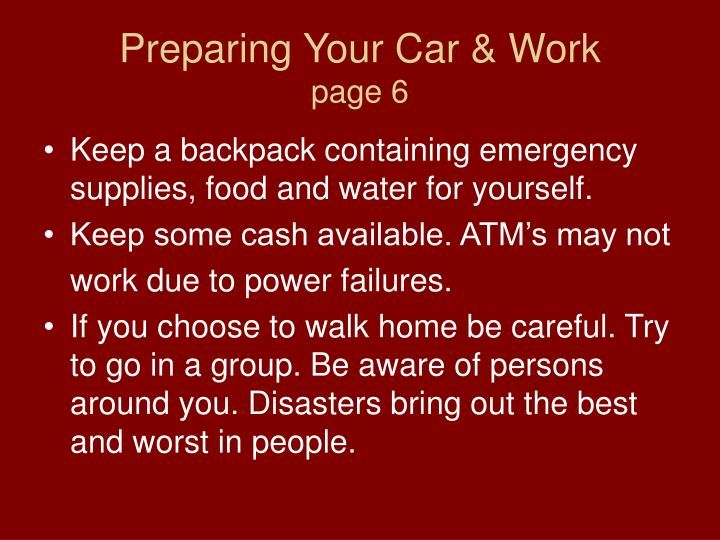 Preparing Your Car & Work