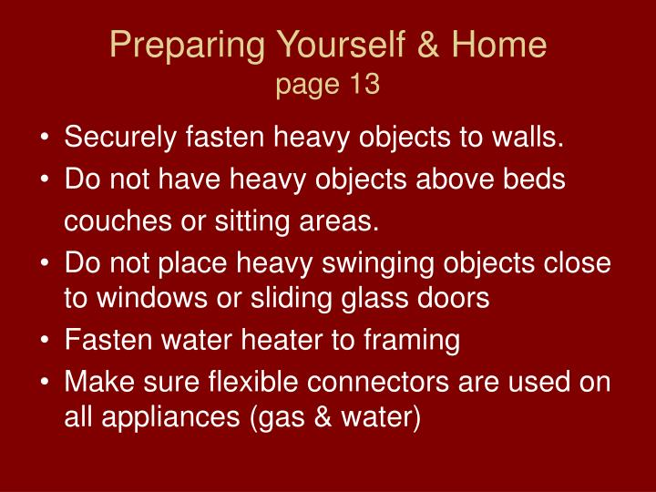 Preparing Yourself & Home