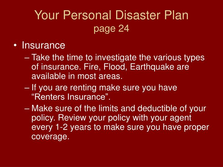 Your Personal Disaster Plan