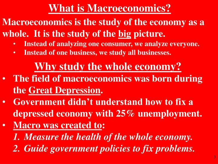 it is the study of economy as a whole 10 principles of economics  3 the forces and trends that affect how the economy as a whole works  should i study an additional hour for tomorrow's exam.