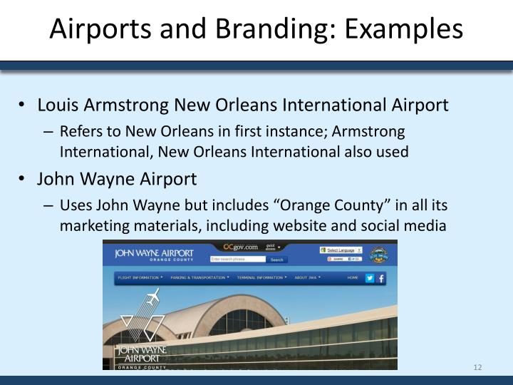 Airports and Branding: Examples