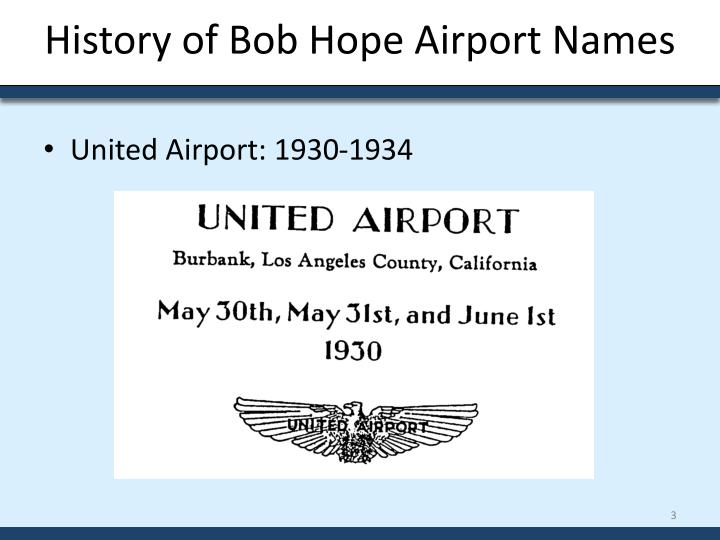 History of Bob Hope Airport Names