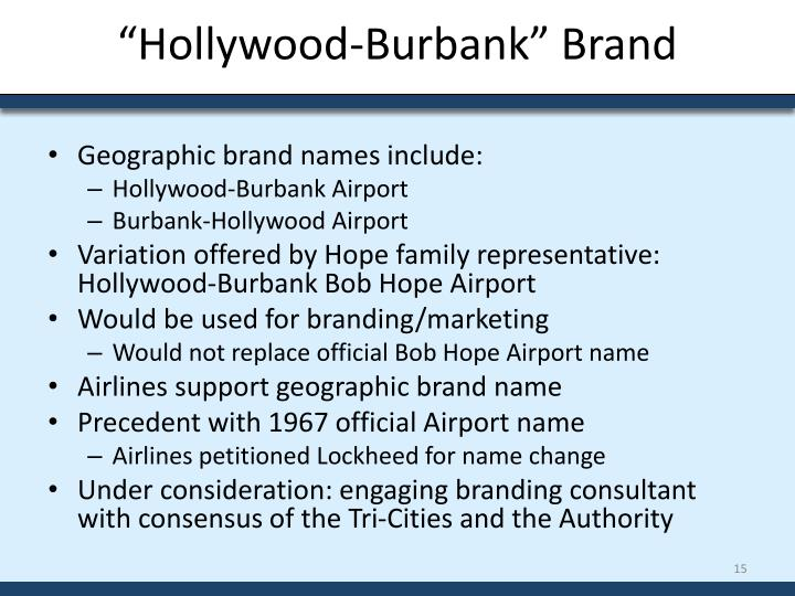 """Hollywood-Burbank"" Brand"