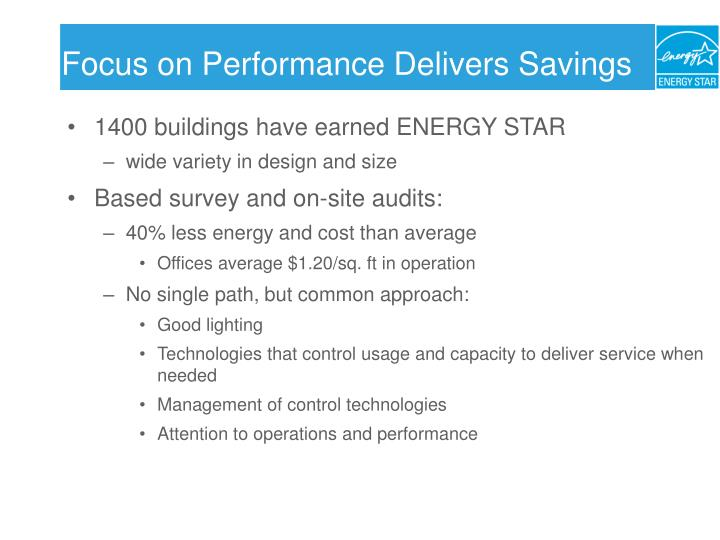 Focus on Performance Delivers Savings