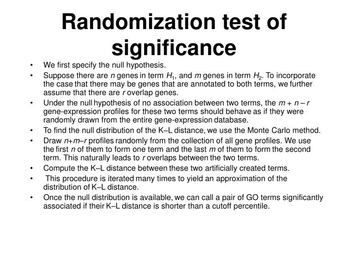 Randomization test of significance