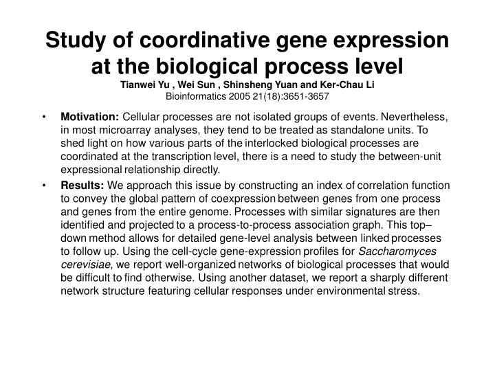 Study of coordinative gene expression at the biological process level