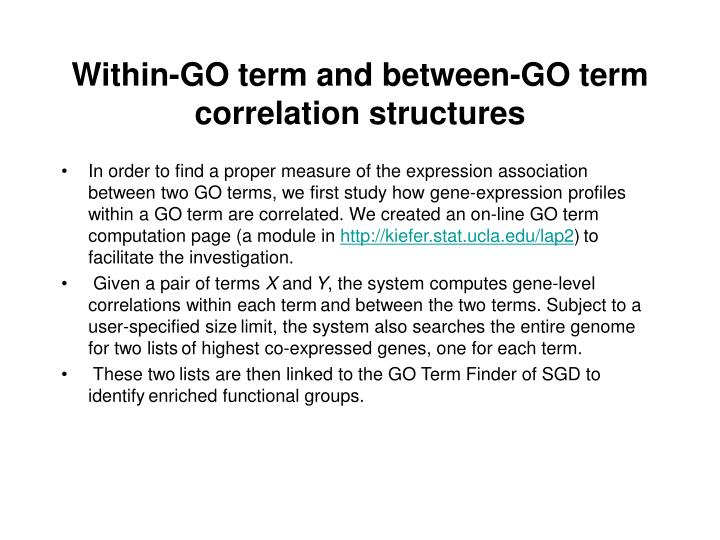 Within-GO term and between-GO term correlation structures