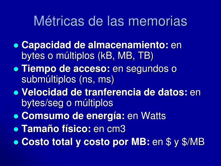 Métricas de las memorias