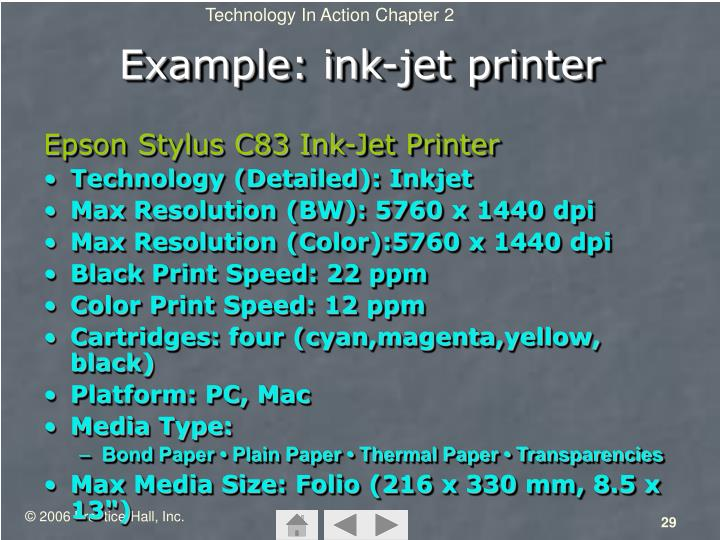 Example: ink-jet printer