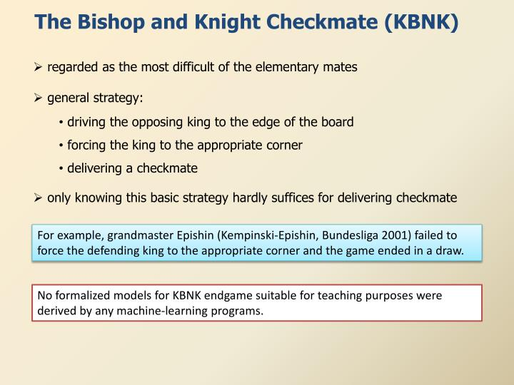 The Bishop and Knight Checkmate (KBNK)