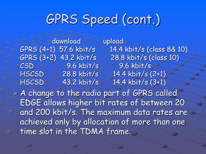 GPRS Speed (cont.)