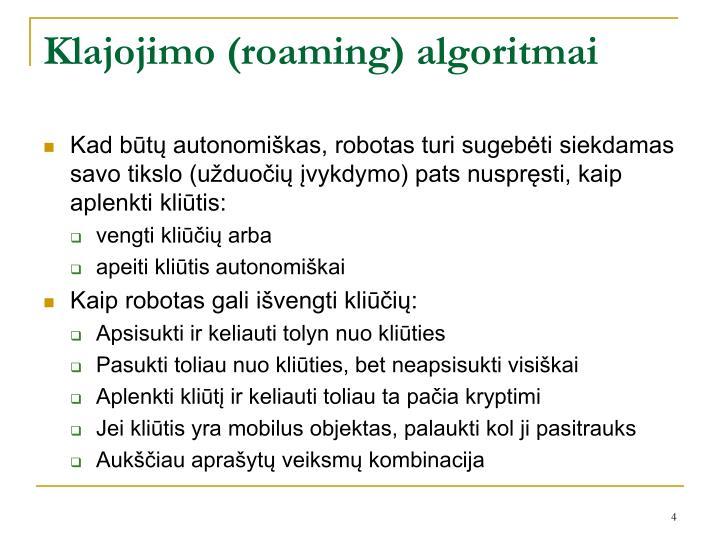 Klajojimo (roaming) algoritmai
