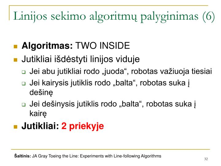Linijos sekimo algoritmų palyginimas (6)