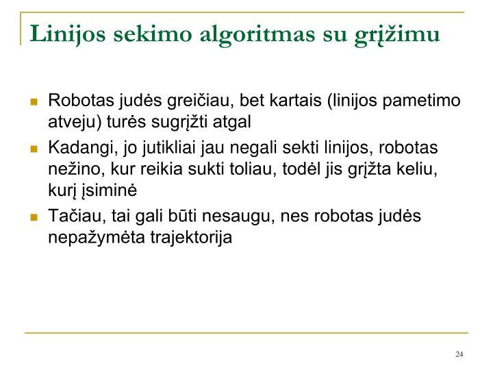 Linijos sekimo algoritmas su grįžimu