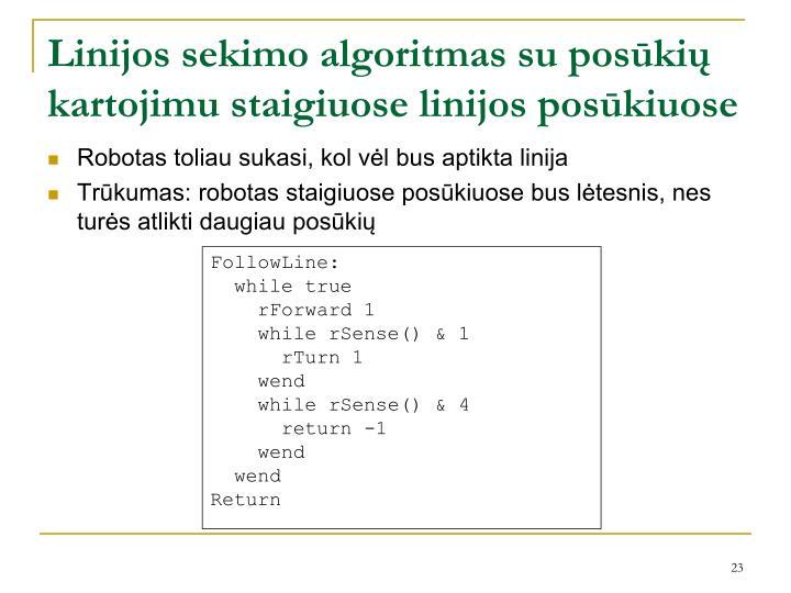 Linijos sekimo algoritmas su posūkių kartojimu staigiuose linijos posūkiuose