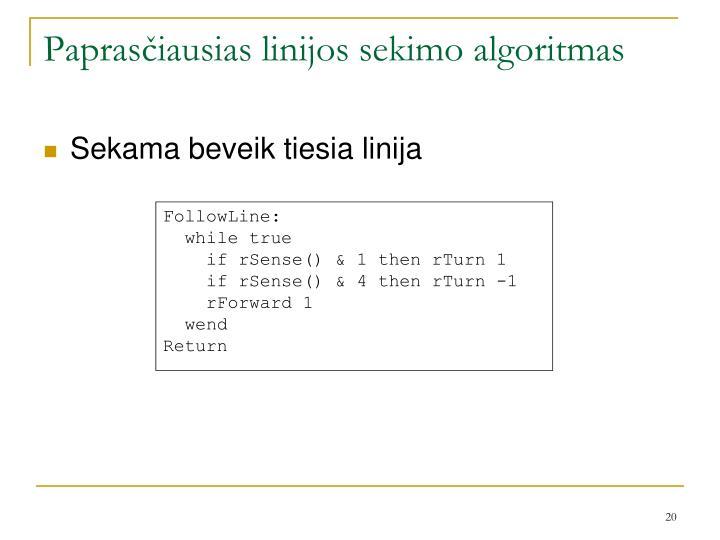 Paprasčiausias linijos sekimo algoritmas